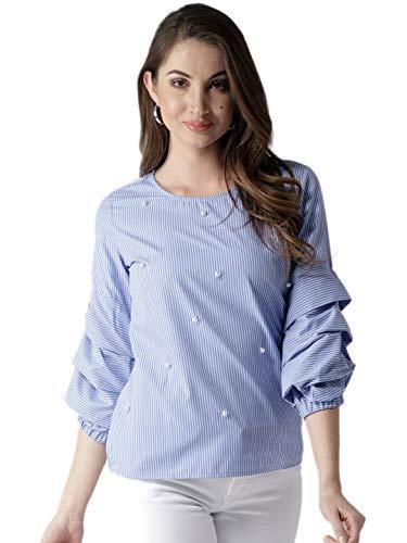 Style Quotient Women Blue Striped Top-S-Blue