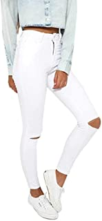 nobrand Jeans da Donna Elasticizzati a Vita Alta Nuovi Skinny Slim Color Puro Jeans Sottili Strappati Pantaloni a Vita consumata Pantaloni