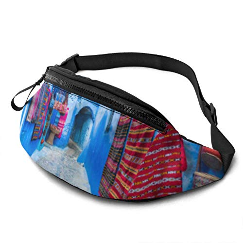 JOCHUAN Kid Fanny Pack for Girls Narrow Street Chefchaouen Blue City Morocco Men Bag Waist with Headphone Jack and Adjustable Straps Boy Fanny Pack for Travel Sports Randonnée