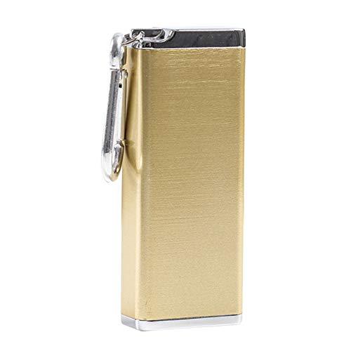 Bemin シガレットケース 8本収納可 タバコケース タバコ箱 ロング たばこケース ステンレス シガーケース 防水 灰皿 タバコ ケース 金属 キングサイズ たばこ 軽量 スリム ミニ (金色, 3.9*1.9*9.8cm)