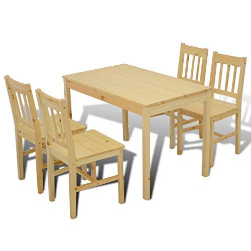 Anself 5 teilige Essgruppe Küchenset Holztisch mit 4 Sühlen Natur