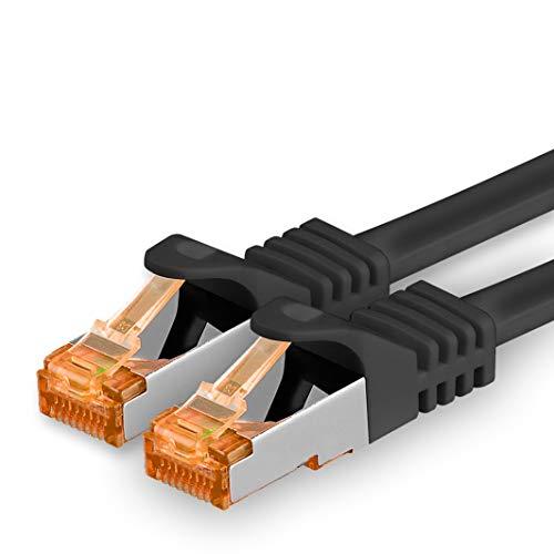 1aTTack.de Cat.7 Cavo di Rete 10m - Nero - 1 Pezzo - Ethernet LAN Cat7 Cat 7 SFTP Spina RJ45 Cat6a 10 Gbit s Compatibile con Cat5 Cat6 Cat6a Cat8 per Switch Router Modem Patchpanel