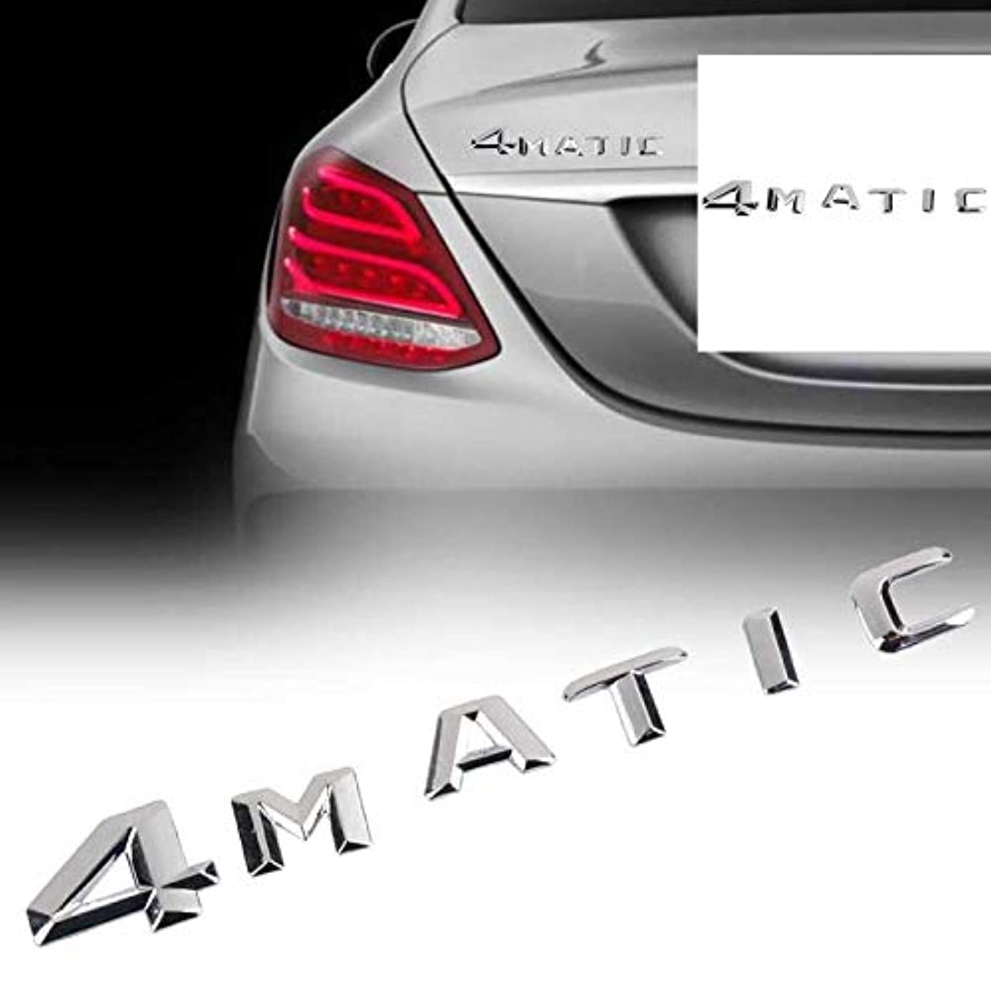 Chrome 4MATIC 4 MATIC Logo Emblem Badge Car Rear Trunk Lid Decal Stickers for Mercedes Benz ABS