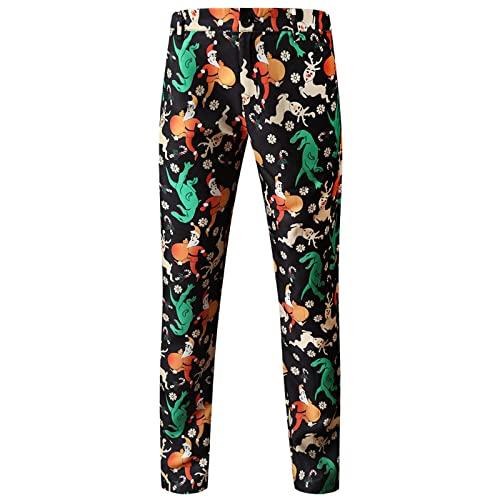 Pantalones casuales de impresión de Navidad Pantalones elásticos ajustados para hombres, Negro, L
