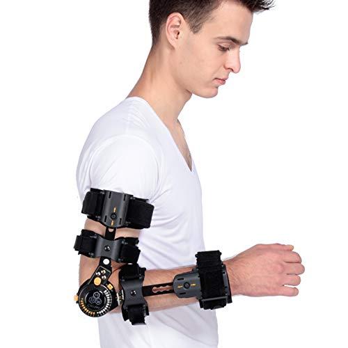 Ortesi del gomito, immobilizzatore del gomito, tutore di gomito a cerniera, rinforzo del gomito post-operatorio regolabile con cinturino per il recupero post-traumatico del supporto