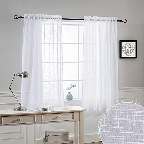 RYB HOME Semi Sheer Linen Curtain - Half Transparent Privacy Sunlight Glare Filtering Boho Drapes for Living Room Bedroom Window, Width 52 x Length 63 inch, White, 2 Panels