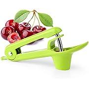 kupbox Kirschentkerner, Cherry Pitter, Kirschkernentsteiner oder Samenentferner mit lebensmittelechtem Silikonbecher, platzsparendem Schlossdesign für Einhandbedienung, Spülmaschinenfest, grün.