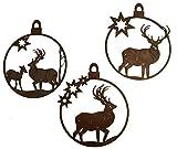 Rostikal | Rostiger Weihnachts Deko Anhänger Hirsch | Christbaumschmuck im 3er Set | 10 x 10 cm