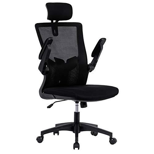 UNIE Ergonomische Bürostuhl mit umwickelter Kopfstütze Lendenstütze Drehstuhl mit Einstellbare Armlehne und Höhenverstellbarer, Leisen Rollen und Verdicktem Sitzkissen Neigungswinkel Bis 120°