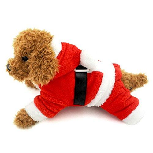 Ranphy Disfraz de Papá Noel para perro pequeño y gato, disfraz de Papá Noel de forro polar, disfraz de Navidad, caniche, ropa de Navidad para niño XL