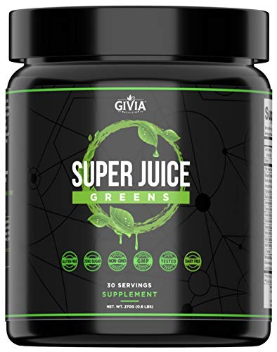 GIVia Super Juice Greens Powder - Plant Based Natural Superfood Blend - Spirulina, Turmeric, Lemon, Wheatgrass, Ashwagandha, Barley, Matcha Green Tea - Boost Energy, Immune System, Cleanse and Calm