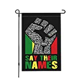 Jopath Say Your Names Black Lives Matter-1 Bandera de jardín de tela de lino para decoraciones de patio de vacaciones de doble cara de arpillera al aire libre 45,7 x 30,5 cm