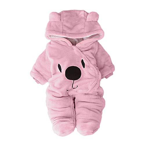 Babykleidung Neugeborene Winter,Covermason Neugeborenes Baby Mädchen Junge Overall Mit Kapuzen Cartoon Bär Samt Spielanzug Strampler Kleider (0-3M, Bär-Rosa)