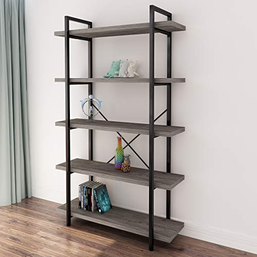 45MinST 5-Tier Vintage Industrial Style Bookcase/Metal and Wood Bookshelf Furniture for Collection, Gray Oak,3/4/5 Tier (5-Tier)