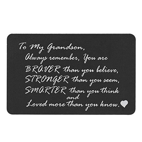 Queenberry SPA1016-GS-PAR, Portafogli Uomo Nero Love Grandson Text + Photo Engraving (Aluminum) Regular