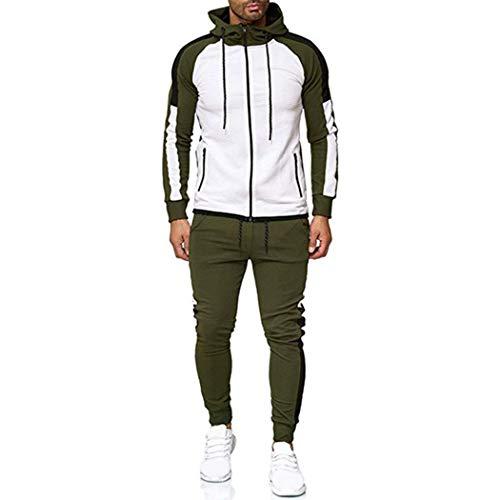 Men Sportswear Two Piece Sets Hip Hop Fleece Hoodie+Pants Sporting Suit White Green