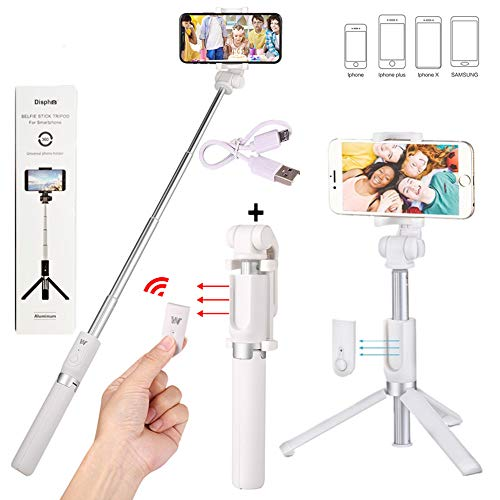 Verygoo Selfie Stick Bluetooth with Detachable Wireless Remote Control, Foldable Tripod Stand, Extendable Tripod Aluminum Alloy 360 Degree Rotation for Apple, iPhone x 8 6 7 plus Android (White)
