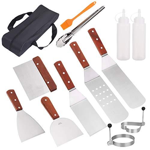 UIEEGPG Grillspachtel Set, 13 Pcs Grillbesteck Edelstahl, Profi BBQ Grillwender BBQ Werkzeugset für Indoor und Outdoor änner Camping, Grillen im Freien, Teppanyaki