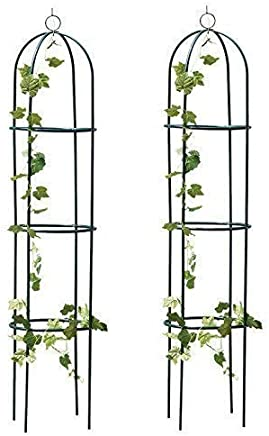 Garden Mile® 2x Large 2M Black Metal Garden Obelisk Heavy Duty Strong Tubular Plant Cage For Roses, Climbing Plants Support Structure Garden Decoration
