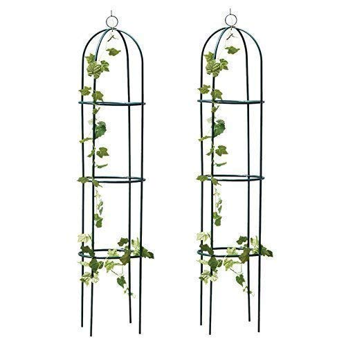 garden mile 2x Large 2M Black Metal Garden Obelisk Heavy Duty Strong Tubular Plant Cage For Roses Climbing Plants Support Structure Garden Decoration