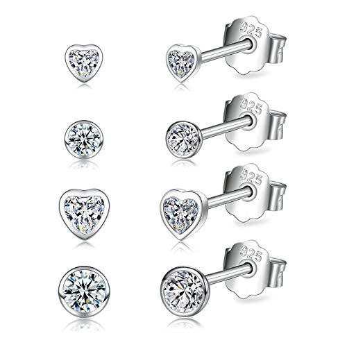 Sterling Silver Stud Earrings for Women   Round and Heart Cubic Zirconia Stud Earrings for Men   Small Hypoallergenic Dainty Stud Earrings Set for Girls, Size 3/4/3/4