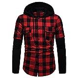 Camisa T-Shirt Moda A Cuadros Negro Rojo Con Capucha Para Hombre Camiseta Delgada De Manga Larga Con Capucha Para Hombre Grandes Camisas A Cuadros De Cuadros A Cuadros Con Bolsillos Dobles Shirt-