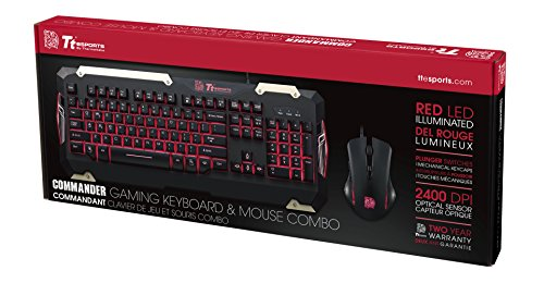 Thermaltake Tt Esports Commander Red LED Backlighting Mechanical Keycaps Membrane Gaming Keyboard & 2400 DPI Red LED Optical Gaming Mouse Combo KB-CMC-PLBDUS-01
