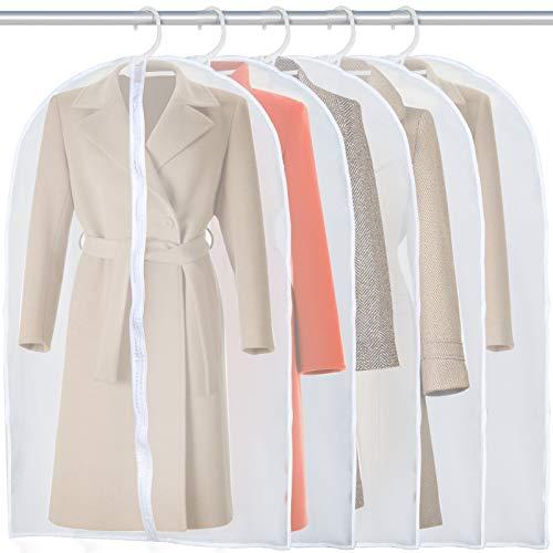 LYITP Staubschutzhülle für Kleidung,5 Stücke Kleidersäcke transparent lang Staub Schutz für Mantel Anzug Daunenjacke Rock Abendkleid Aufbewahrung Sack mit Reißverschluss, wasserdicht,atmungsaktivem
