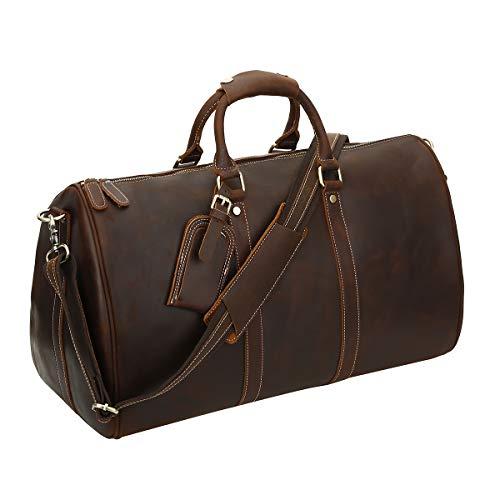 Leathario Herren Damen Weekender Reisetasche Handgepäck mit Rollen für 13.3 Zoll Laptop...
