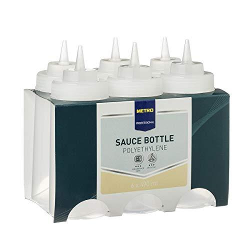 Metro Professional Dosierflaschen | 6 Stück | transparent | mit Spritztülle | Spenderflasche | Quetschflasche | Squeezebottle | Saucenflasche | Dekorierflasche | gewerblicher Einsatz geeignet (490 ml)