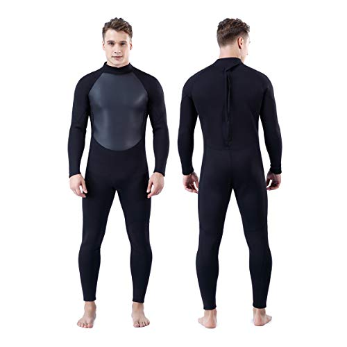 Homruilink Mens Wetsuit, 3mm Neoprene Full Wetsuit Long Sleeve Diving Suits with Back Zipper UV Protection Full Body Wetsuit Cover for Swimming Diving Surfing Kayaking Snorkeling …