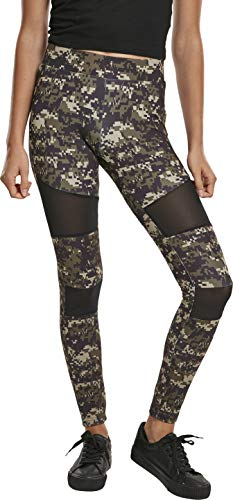 Urban Classics Damen Ladies Tech Mesh Leggings, Wood digital camo, M