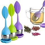 Infusor de té de hojas sueltas, con mango de silicona, colador de acero inoxidable para tetera, taza – té suelto – Difusor de té para té suelto, té de hinojo, juego de 3, verde/azul/morado