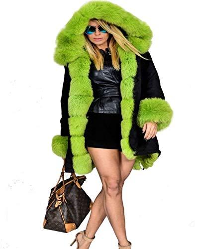 Abrigos Mujer Elegantes Invierno Bicolor Encapuchado Piel Sintética Manga Largo Talla Grande Casuales Sencillos Mullido Chaqueta Caliente Espesar Outwear Estilo