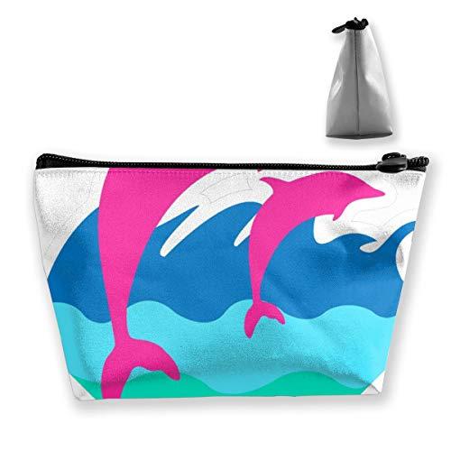Grande trousse de maquillage Motif dauphin Rose