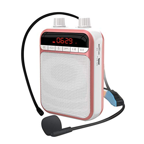tairong Amplificador de Voz portátil, Amplificador de Voz con batería de Iones de Litio Recargable de 3000 mAh, micrófono portátil con Cable, Compatible con Tarjeta TF para Profesores, coacher