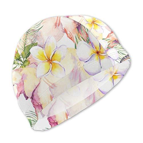 HFHY Feuilles Tropicales d'éléphant et Bonnet de Bain Fleurs Exotiques pour Enfants, Bonnet de Bain personnalisé en Polyester