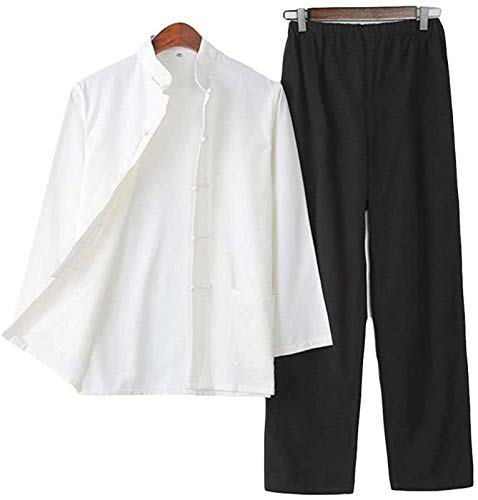 Tai Chi Uniforme Hombre, Ropa De Uniforme De Tai Chi para Hombres: Conjuntos De Artes Marciales Ropa Tradicional China Shaolin Kung Fu Wing Chun Taekwondo Ropa De Entrenamiento De Algodón,C-190/3XL