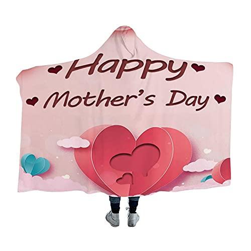 Kgblfd Manta con capucha para el día de la madre, suave, cálida y cómoda, apta para hombres, mujeres, adolescentes, 156 x 200 cm