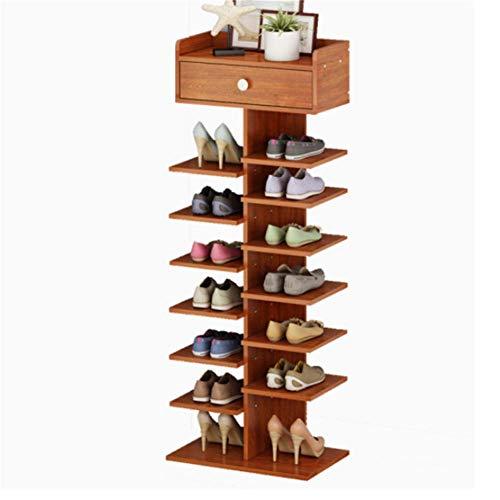 L1 Estante moderno de madera natural de 8 capas de gran capacidad con práctico cajón, gabinete de zapatos, soportes de exhibición del pasillo, apto para todos los estilos