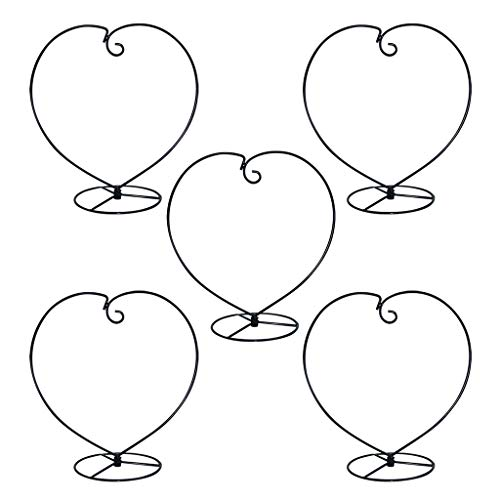 MOCOUM Ornament Display Stand, Iron Glass Ball Ornament Holder Stand for Hanging Plants, Hanging Terrarium Stand for Christmas Wedding Ornament, Home Office Decor (5pcs Black Heart Shaped)