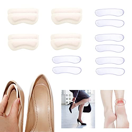 SooGree 8 Pairs Heel Cushion Inserts,Heel Blister for Women Men Kids Heel Pads Anti Slip Improve Shoe Fit and Comfort Prevents Chafing , Reusable Grips Liners for Loose Shoes