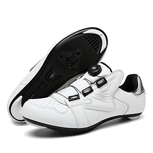 KUXUAN Zapatillas de Ciclismo para Mujer Hombre Carretera SPD Bike Zapatillas de Ciclismo Spin Shoestring con Compatible SPD Look Delta Cycle Riding Cleat Peloton,White-3.5UK=(230mm)=36EU