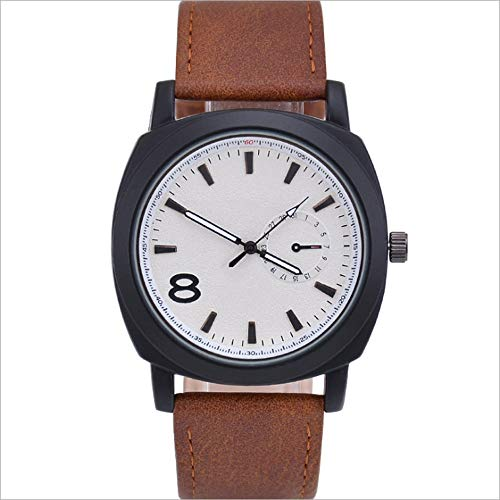 YUN Reloj de Hombre clásico,Reloj de Hombre Correa de Cuero Impermeable Analogico Cuarzo Reloj Regalo Hombre (Color : Brown)
