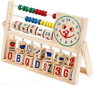 US Delivery PPgejGEK Kids Wooden Abacus Toy Versatile Flap Abacus Smiling Face Clock Calculation product image