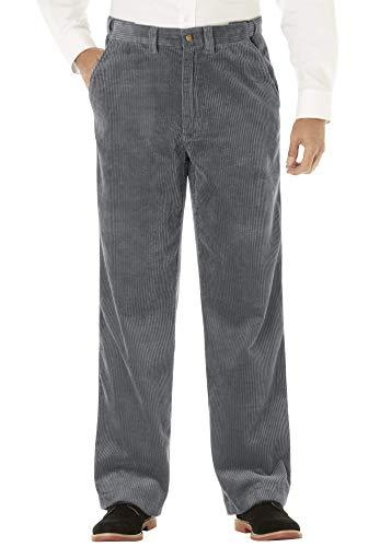KingSize Men's Big & Tall Six-wale Corduroy Plain Front Pants, Steel Tall-3840