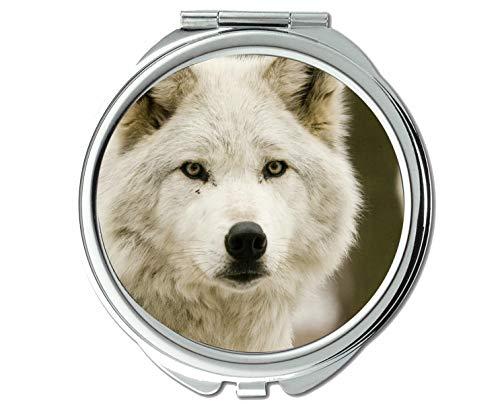 Specchio, Specchio rotondo, Specchio tascabile con coda di lupo animale, 1 ingrandimento X 2X