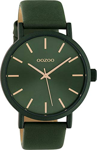 Oozoo Damenuhr mit Lederband 42 MM Colours of Oozoo Unicolor Tannengrün C10453