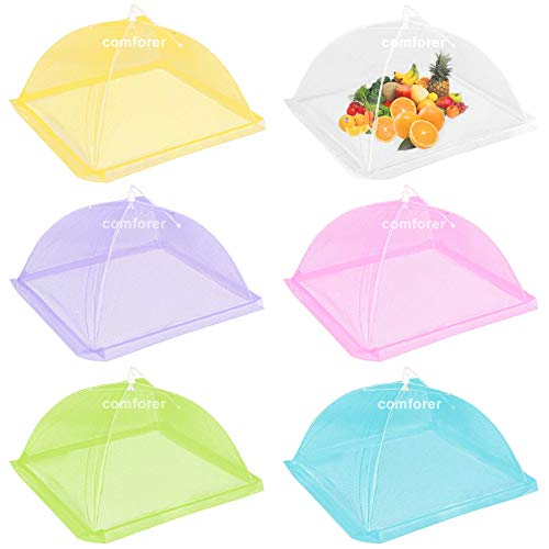 Comforer Food Cover Mesh Food Tent, 17 Inches, Nylon Covers, Pop-Up Umbrella Screen Tents, Collapsible and Reusable Patio Bug Net for BBQ, Picnics, Parties, Camping, Outdoor - 6 Colors