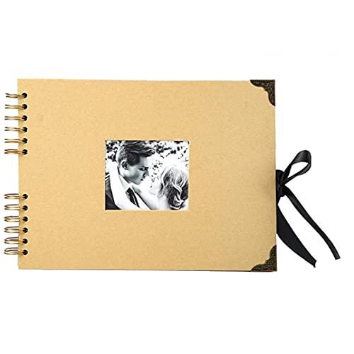 Obelunrp Album de Fotos Álbumes de scrapbums de álbumes de 80 páginas Brown Thick Kraft Paper Scrap Libro para proyectos de artesanía
